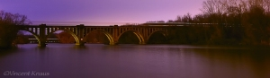 Railroad Bridge over the Rappahannock River Fredericksburg Virginia at Night