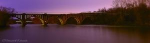 Railroad Bridge over the Rappahannock River Fredericksburg Virginia at Night