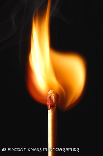 Match bursting into flame