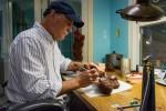 Stewart Wegner working on a wax casting.