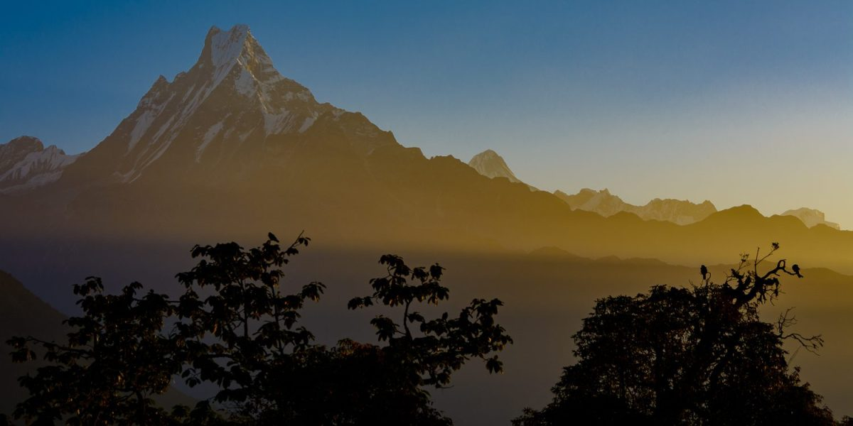 Sunrise at Fish Tail Mountain, Annapurna region of Nepal.
